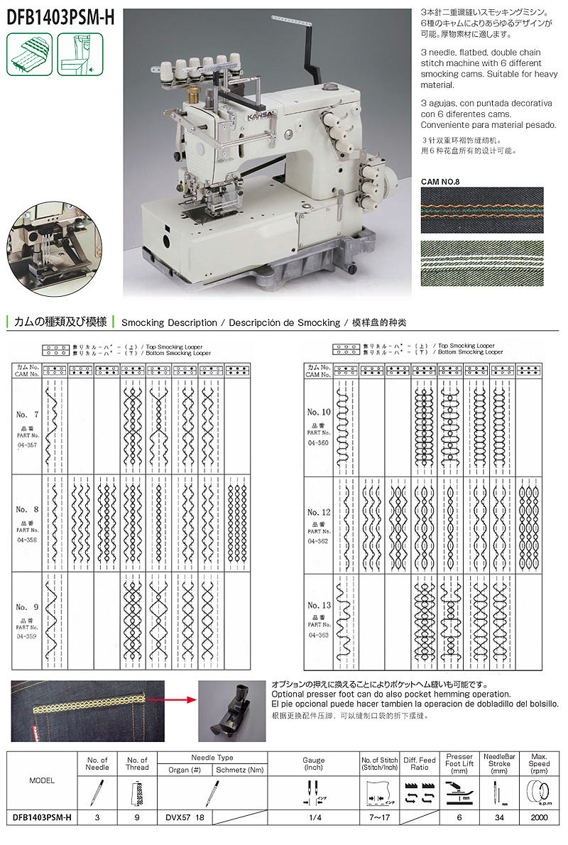 Smocking Machine - KANSAI SPECIAL DFB 1403PSM