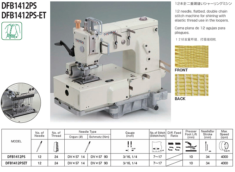 KANSAI SPECIAL DFB 1412PS Shirring Machine with Elastic Thread
